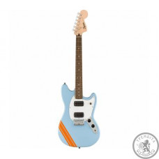 SQUIER by FENDER BULLET MUSTANG FSR HH DAPHNE BLUE w/COMPETITION STRIPES Електрогітара