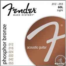 Струни для акустичної гітари ,FENDER 60L , 12-53