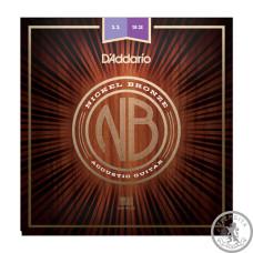 Струны для акустической гитары D`ADDARIO NB1152 NICKEL BRONZE CUSTOM LIGHT 11-52