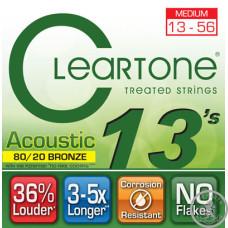 Струни для акустичної гітари  (13-56) CLEARTONE 7613 Acoustic 80/20 Bronze Medium 13-56