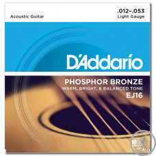 Струни для акустичної гітари  (12-53) D`Addario phosphor bronze EJ16