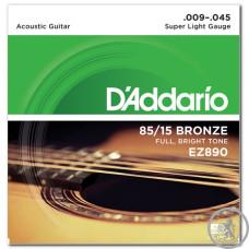 Струни для Акустичної Гітари D'ADDARIO EZ890 85/15 BRONZE SUPER LIGHT (09-45)