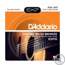 Струни для акустичної гітари  (10-47) D`Addario bronze coated EXP 80/20 EXP10