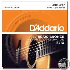 Струни для Акустичних Гітар D`ADDARIO EJ10 80/20 BRONZE EXTRA LIGHT 10-47