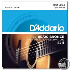 Струни для Акустичних Гітар D`ADDARIO EJ11 80/20 BRONZE LIGHT 12-53