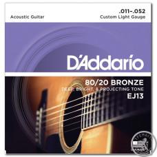 Струни для Акустичних Гітар D`ADDARIO EJ13 80/20 BRONZE CUSTOM LIGHT 11-52