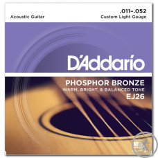 Струны для акустической гитары (11-52) D`Addario phosphor bronze EJ26