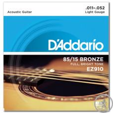 Струни для Акустичних Гітар D`ADDARIO EZ910 BRONZE LIGHT 11-52