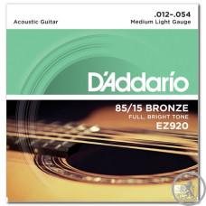 Струни для Акустичних Гітар D`ADDARIO EZ920 BRONZE MEDIUM LIGHT 12-54