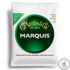 Струни для акустичної гітари  (10-47) MARTIN M1600 Marquis 80/20 Bronze Extra Light 12 String 10-47