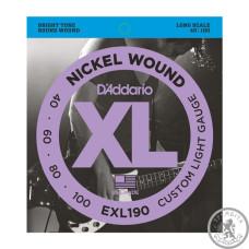 Струни для Бас-гітар D`ADDARIO EXL190 XL CUSTOM LIGHT 40-100