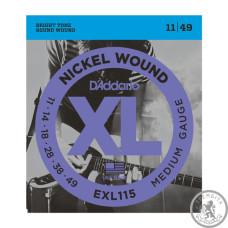 Струни для Електрогітар D`ADDARIO EXL115 XL BLUES/JAZZ ROCK (11-49)