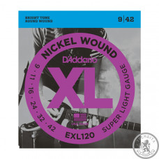 Струни для Електрогітар D`ADDARIO EXL120 XL SUPER LIGHT (09-42)
