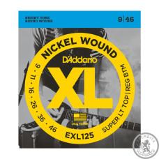 Струни для Електрогітар D`ADDARIO EXL125 XL SUPER TOP / REGULAR BOTTOM (09-46)