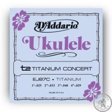 Струни для укулеле  D'Addario EJ87C Titanium Ukulele, Concert